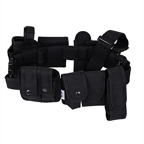 Ogquaton Safety Belt System Tactical Equipment System Police Nylon Police Guard with 9 Functional Bags Black