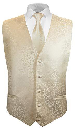 Festliche Jungen Anzug Weste mit Krawatte 2tlg champagner floral für Kinderanzug Gr. 2 (Anzug Floral)
