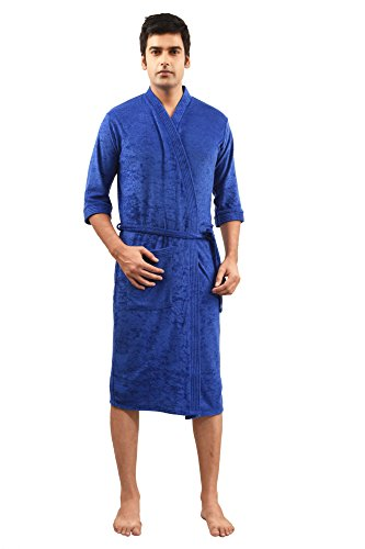 FeelBlue Cotton Bathrobe For Gents (Royal Blue-Full)