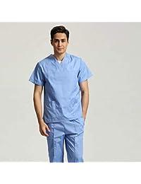 OPPP Ropa médica Uniformes de enfermería de Manga Corta para Hombres, Mujeres, Trajes, Azul, quirúrgico, Batas, Ropa…