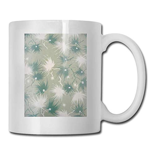 Daawqee Becher Porcelain Coffee Mug Dandelion Green White Nature Ceramic Cup Tea Brewing Cups for Home Office (Tiger Thermo Slow Cooker)