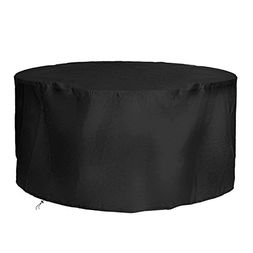 Dokon Schutzhülle für Gartentisch Wasserdichtes Atmungsaktives Oxford-Gewebe Gartenmöbel Abdeckung, Rund (190x80cm) - Schwarz -