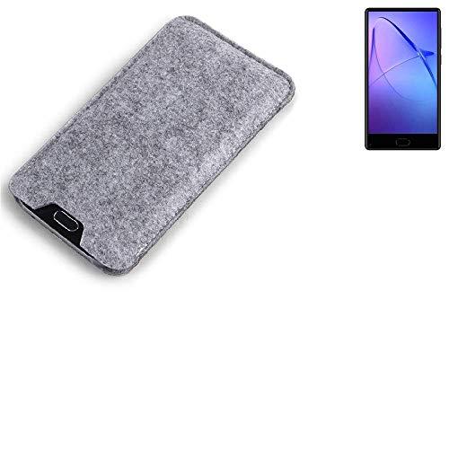K-S-Trade Filz Schutz Hülle für Leagoo KIICA Mix Schutzhülle Filztasche Filz Tasche Case Sleeve Handyhülle Filzhülle grau