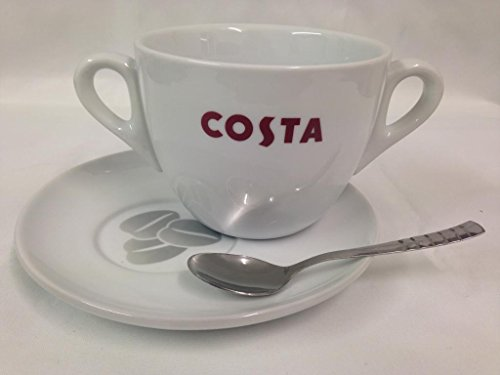 Costa Large Cup Double Handle With Saucer And Spoon 568ml 20oz Massimo
