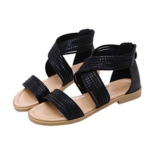 Xinvivion Böhmische Sandalen für Damen - Sommer Strand Flip Flops Hausschuhe Offene Spitze Römische Reißverschluss Flache Schuhe Gladiator Open Toe Vintage Pumps