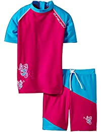 Zunblock Butterfly Ensemble anti-UV Haute manches courtes + short Fille Hollywood/Turquoise FR : 4 ans (Taille Fabricant : 98/104)