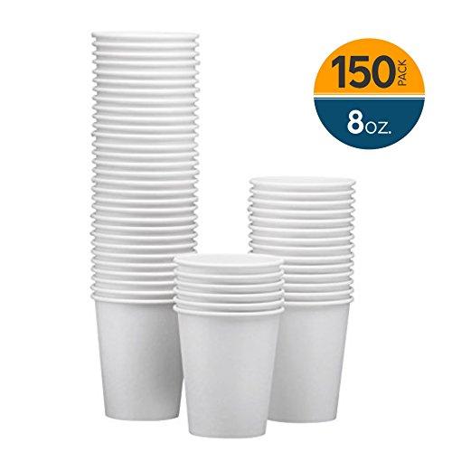�e Einwegbecher aus Papier - Heiß-/Kaltgetränkebecher für Wasser, Saft, Kaffee oder Tee - ideal für Wasserkühler, Party, oder Kaffee unterwegs ()