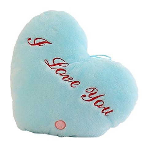 Lovely Glow lumineux lumière Coussin musical en forme de coeur en peluche et poupée, bleu