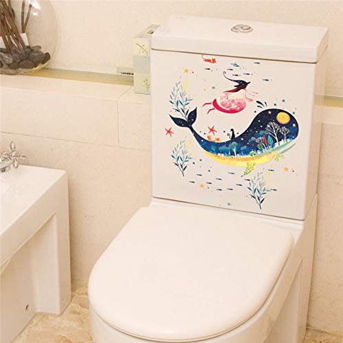 NBKLS Wandaufkleber Unterwasser Fisch Delphin Hexe Katze Wandaufkleber Abziehbilder Kunst Badezimmer Waschmaschine Toilette Badezimmer Halloween Dekoration