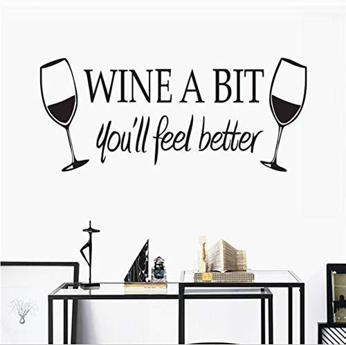 Lkfqjd Wein Ein Bisschen Sie Fühlen Sich Besser Wandaufkleber Küche Wandfliese Aufkleber Vinyl Wasserdichte Wandtattoos Weingläser 55 * 24 Cm