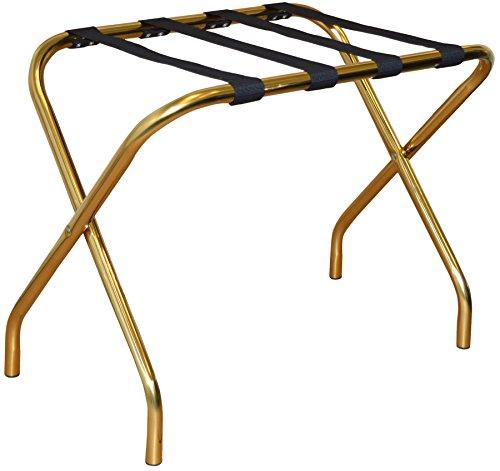 Folding Metall Gepäckträger - Gold mit schwarzem Gurtband Riemen