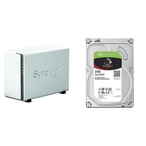 Synology DS216j 2-Bay Desktop NAS-Gehäuse, inklusive 2 x Seagate IronWolf 3 TB, ST3000VN007, interne Festplatte, 8,9 cm (3,5 Zoll), 64 MB Cache, 5900 RPM, SATA 6Gb/s, (6 TB)