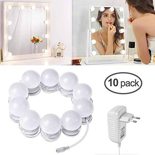 Spiegel Beleuchtung, LTPAG 10 Stücke dimmbar Led Spiegelleuchte, Hollywood Stil Schminktisch...