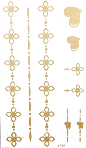ggsell-latest-king-horse-new-design-waterproof-gold-folwer-jewellery-temporary-tattoos-for-necklaces