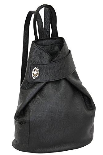 AMBRA Moda Leder Rucksack, Damen tasche, Handtasche, Schultertasche GL014 (Schwarz)