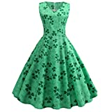 Mymyguoe Damen St Patrick's Day Grün Kleid Retro eine Linie Abendkleid Kleeblatt ärmelloses Blumendruck Party Kleid gedruckt Vintage Kleid Cocktailkleid Rockabilly Abend Ballkleid