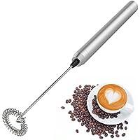 Espumador de leche Eléctrico de mano, Mini batidor de acero inoxidable portátil para alimentos color plata
