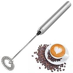 Handheld-elektrischer Milchaufschäumer, Lebensmittelqualität Edelstahl Tragbare Mini Whisk- Silber
