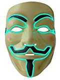 Party Leuchtmaske der besonderen Art, eine in Grün leuchtende und blinkende Vendetta LED Maske