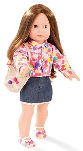 Preisvergleich Produktbild Götz 1590382 Precious Day Girls Elisabeth Ponpon - 46 cm große Stehpuppe mit braunen langen Haaren und braunen Schlafaugen - 8-teiliges Set bestehend aus der Bekleidung, einer Tasche und einer Styling-DVD - geeignet für Kinder ab 3 Jahren