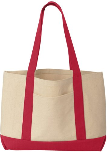 Liberty Taschen Leeward Canvas Tote – Natur/Rot – OS Natur/Rot