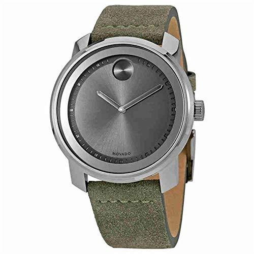 Movado Men's Bold 42.5mm Green Suede Band Steel Case Quartz Watch 3600448
