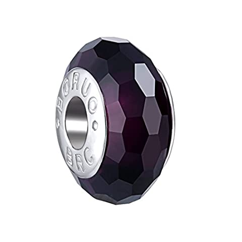 Boruo 925 Sterling Silver Czech Crystal Fascinating Facet Amethyst Glass Charms Beads Spacers February Birthstone Solid Core Charm Fit Pandora