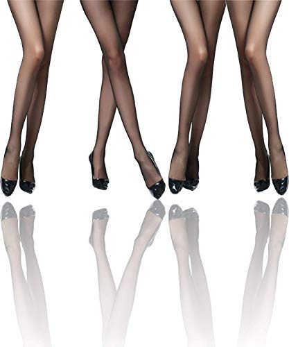 Ilamante® - 8er Pack Feinstrumpfhose Damen Schwarz 20 Den Transparent - Mit haltbarer Lycra 3D Faser, Laufmaschenstopp und breiter Komfortbund (L) -