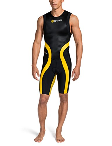 Skins Herren Tri 400 Mens Skinsuit W Zip, Black/Yellow, XS