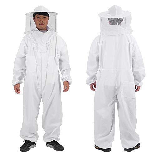 Imker Anzug - Delaman Professioneller Ganzkörper Imkeranzug mit rundem Schleierhut, Weiß, Imkerbedarf (Size : XL)