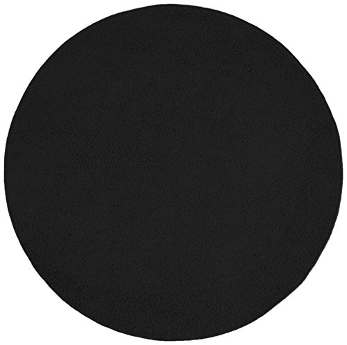 misento 292190 alfombra de pelo largo Shaggy, 133 cm redondo, negro