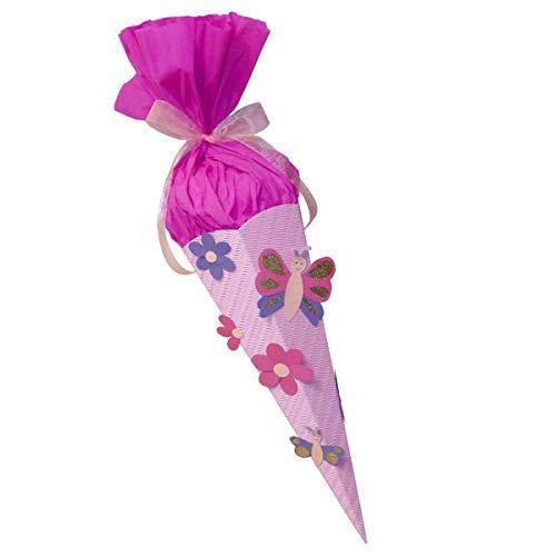Schultüte Bastelset Schmetterling-Blume vorgestanzt - Zuckertüte - aus 3D Wellpappe, 68cm hoch