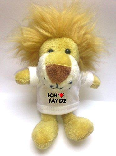 Jayde Bekleidung (Plüsch Löwe Schlüsselhalter mit einem T-shirt mit Aufschrift mit Ich liebe Jayde (Vorname/Zuname/Spitzname))