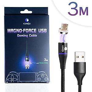 COOJU Magno-Force USB Kabel, magnetisches Daten- und Ladekabel für PS4, XBOX-One und PC Gaming, 3m Länge, Premium Qualität mit hochwertiger Nylon Ummantelung für schnelles Laden und Synchronisieren