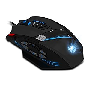 Programmable Zelotes C-12 Gaming Mouse, AFUNTA c-12 mouse of 1000-1500-2000-4000 4 levels DPI switch,allow double-speed adjustment,the highest mouse movement speed up to 8000DPI with Total 12 Programmable Buttons and Functions of Weight Tuning Cartridge