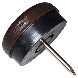 32 x Kunststoffgleiter mit Puffer und Nagel | Ø 25 mm | Braun | rund | Möbelgleiter mit Dämpfer und Stift in Premium-Qualität von Adsamm®