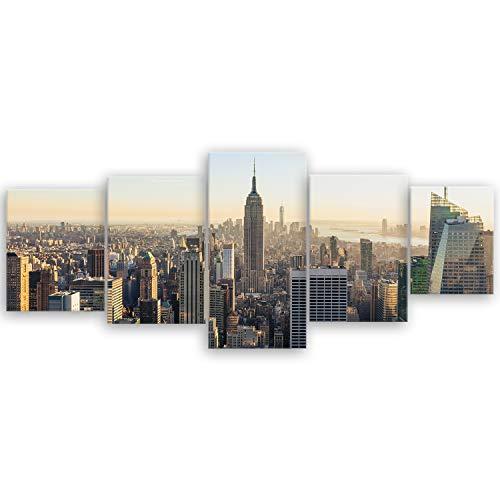 ge Bildet® hochwertiges Leinwandbild XXL - New York City Skyline - 200 x 80 cm mehrteilig (5 teilig)