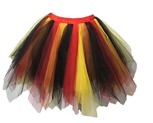 euheiten Tutu Unterkleid Rock Ballet Petticoat Abschlussball Tanz Party Tutu Rock Abend Gelegenheit Zubehör Flagge Deutschlands Schwarz Rot und Gelb (Halloween Band Rock)