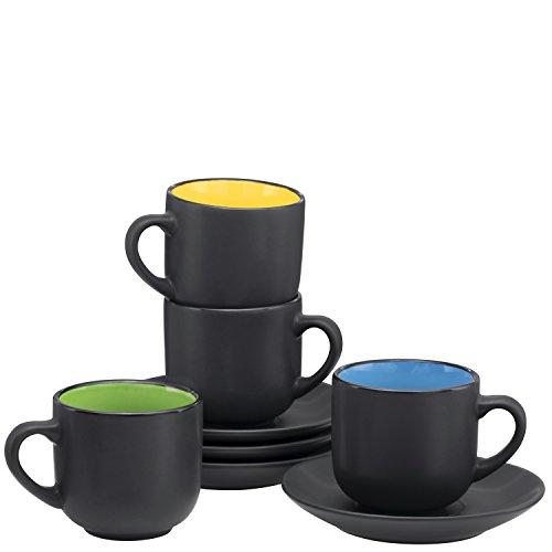 Espresso Tassen mit Untertassen von bruntmor-4Unze-Weiß Keramik-Set von 4 matte black (Black Coffee Shots)