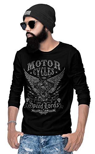Biker Langarm T-shirt (Rebel on Wheels Speedlords Langarm T-Shirt Herren Long-Sleeve Schwarz No-Pain L)
