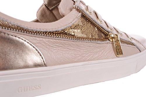 Guess Damen Sneaker Schnürschuhe Beige Leder Beige