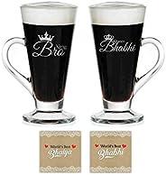 TheYaYaCafe for Brother Bhabhi Combo King Bro Queen Bhabhi Glass Tea CupsCoaster Set of 4