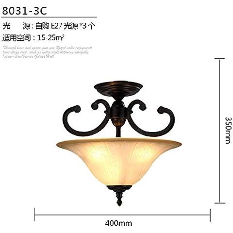 Zqww Ceiling lamp Seppia idilliaco ferro continentale mezza luce da soffitto camera da letto corridoio aderente il villaggio americana round glassCeiling lampade con , lampada halfCeiling -3