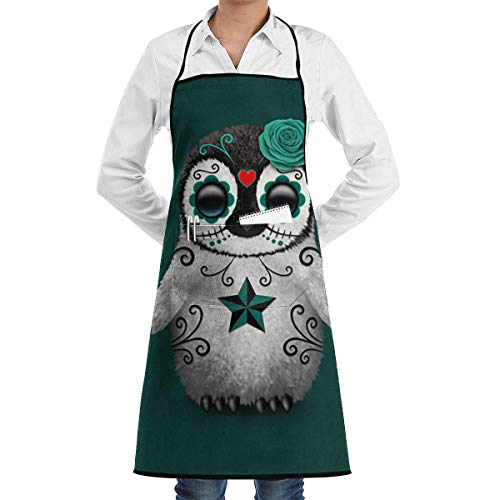 HiExotic Eco-Friendly Teal Blue Day of The Dead Sugar Skull Penguin Apron with Pockets Locked for Cooking Baking Crafting Gardening BBQ (20.5 X 28.3 Inches)