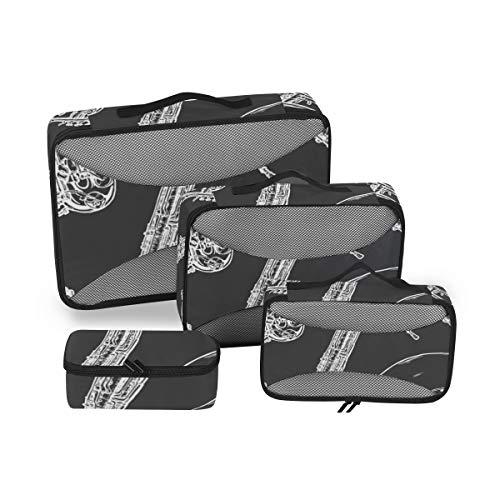 LISNIANY Holzbläser Messing Musikinstrument,Duffel Bag travel Bag Sports Bag Cosmetic Bag Set of 4
