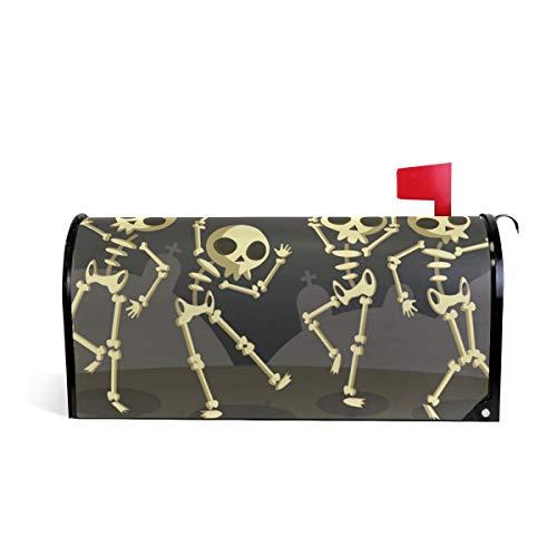HEOEH Halloween-Skelett-Tanz-Magnet-Briefkasten-Abdeckung, für Zuhause, Garten, Dekoration, Übergroß, 63,5 x 5,8 cm 52.6x45.8cm Mehrfarbig