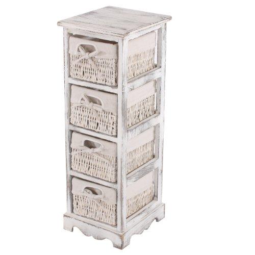 Mendler Regal Kommode mit 4 Korbschubladen 74x25x28cm, Shabby-Look, Vintage ~ weiß (Kommode Mit Regalen)
