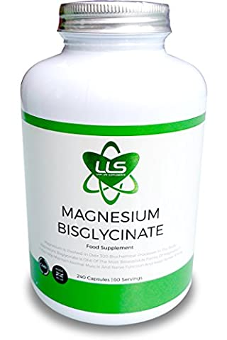 LLS Magnésium Bisglycinate chélaté | 2500 mg (250 mg de magnésium) | 240 Capsules / 60 Portions | Forme hautement biodisponible de magnésium | Produit sous licence UK/ GMP | Love Life Supplements -