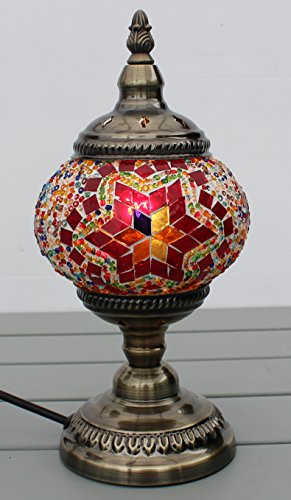 Turkish Lamp Moroccan Light Superior Quality Mosaic Glass & Bronze Base CE