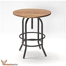 Phoenixarts Vintage Gartentisch Rund Aus Recyceltem Ulmenholz Beistelltisch  Wiederverwertetes Holz Eisen Tisch GartenMöbel